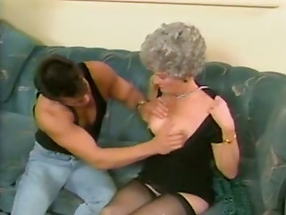 Lusty grannie in darksome nylons acquires her fur pie finger drilled by juvenile nextdoor dude