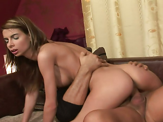 Slim babe Betty Stylle rides a penis with enjoyment on the bed