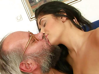 Brunette hair sexpot acquires her love tunnel drilled hard by an elder fart