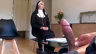 Perv medic poses a hidden camera in her waiting apartment ... he notices that she is not so supreme for a nun ...
